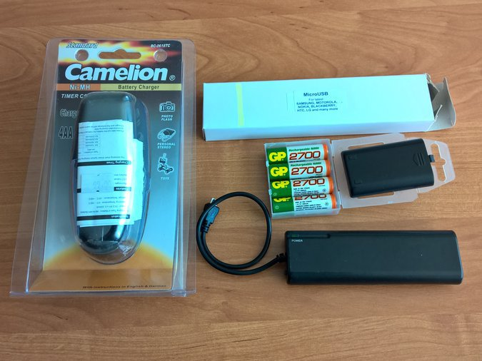 POWER BANK MICRO USB + CAMALION BATTERY CHARGER + AKKU 4 AA