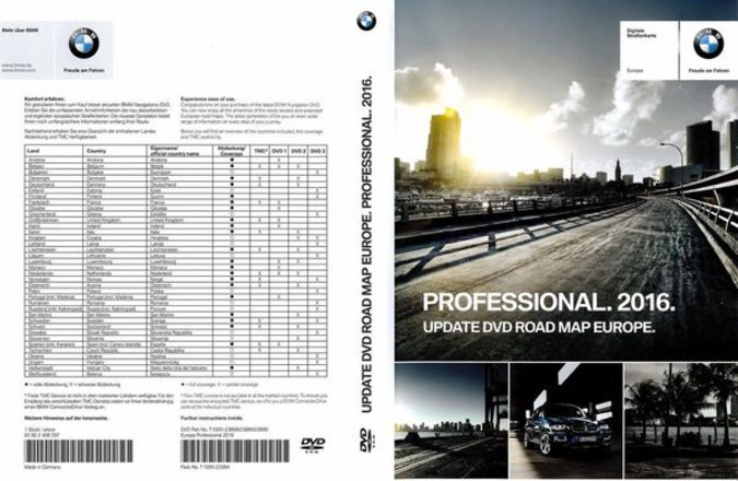 BMW PROFESSIONAL 2016 DVD EUROPE ROAD MAP