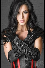SATIN GLOVES BLACK WITH STONES S-L