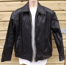 CAFE RACER STYLE BLACK LEATHER JACKET XL