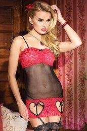 ATTACTHED GARTER BLACK RED LACE VALENTINE CHEMISE