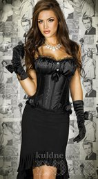 BLACK SATIN CORSET WITH STRING