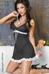 BABYDOLL WITH STRING, BLACK/WHITE